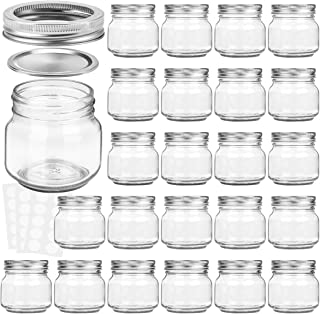 KAMOTA Mason Jars 8 oz With Regular Silver Lids and Bands, Ideal for Jam, Honey, Wedding Favors, Shower Favors, Baby Foods, DIY Magnetic Spice Jars, 24 PACK, 30 Whiteboard Labels Included