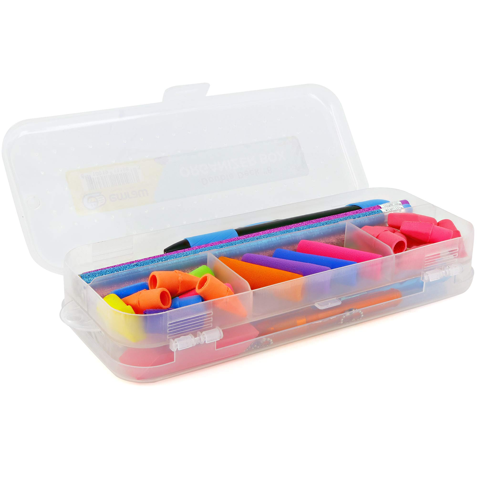 Emraw - Estuche organizador de plástico de doble cubierta para ...