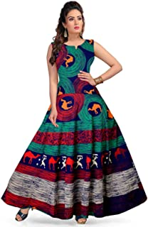 Gorangani Women's Latest Western Cotton Fit & Flare Maxi dress/Gown for Women