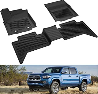 KIWI MASTER Floor Mats Compatible for 2016-2017 Toyota Tacoma Accessories Double Cab Crew Cab All Weather Mat Liners Front Rear 2 Row Seat TPE Slush Liner Black