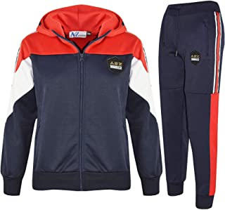 Kids Boys Girls Tracksuits A2Z Originals Panelled Navy Hooded Top Bottom Joggers