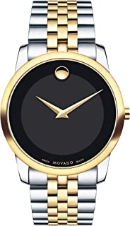 Movado Two Tone Stainless Black dial Watch for Men 0606899