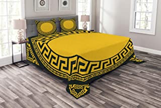 Ambesonne Greek Key Bedspread, Sun Inspired Big Circle with Antique Fret and Triangular Ornaments, Decorative Quilted 3 Piece Coverlet Set with 2 Pillow Shams, Queen Size, Grey Charcoal