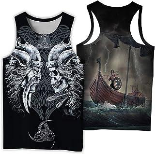 Nordic Men's Vikings 3D Digital Printed Vest,Vintage Summer Odin Runes Symbol Scandinavian Round Neck Tops,Warrior e,5XL