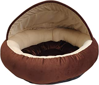 Mellifluous Medium Size Young Dog and Cat Pet Bed, Brown-Cream