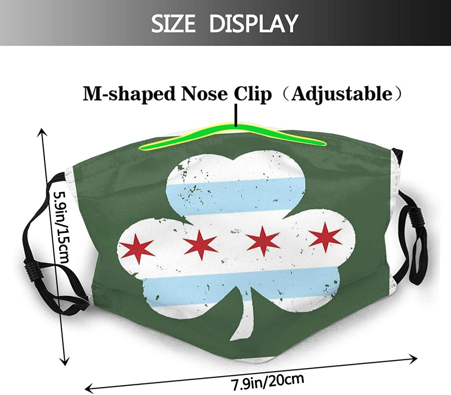 Chicago Flag leafFace Mask Washable Men Women, Balaclavas Face Cover Adult Reusable Windproof with 2 Filters, Cycling, Camping, Running, Traveling, Climbing Black