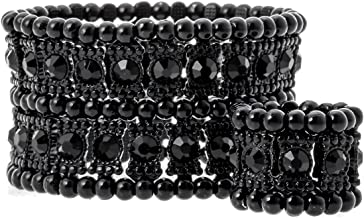 YACQ Women's Multilayer Stretch Cuff Bracelets Fit Wrist Size 6-1/2 to 7-1/2 Inch - Soft Elastic Band & 2 Row Crystals - 1-1/2 Inch Wide - Lead & Nickle Free