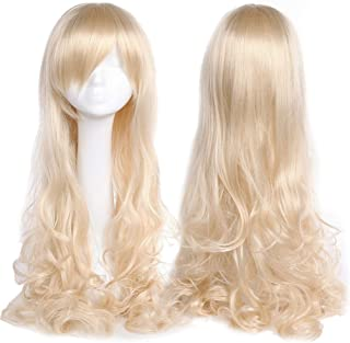 32 Inch Long Wavy Curly Anime Cosplay Wigs with Bangs Japanese Heat Resistant Synthetic Hair for Women Girls Halloween Costume 10 Colors(Linen Blonde)