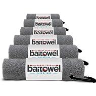 """Bait Towel Pack of 6 Microfiber, 16"""" x 16"""", Carabiner Clip"""