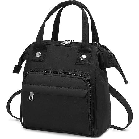 LOVEVOOK Tasche Klein Canvas Umhängetasche Damen Handtasche Klein Crossbody Tasche Messenger Bag Schultertasche 3 in 1 rucksack elegant, Schwarz