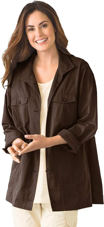 Woman Within Women's Plus Size Sport Twill Utility Jacket
