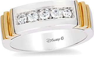 Jewelili Enchanted Disney Fine Jewelry 14K White and Yellow Gold 1/3 Cttw Mens Ring