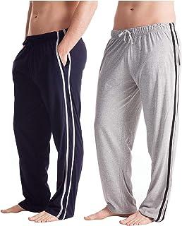 Mens Long Lounge Wear Pants Nightwear (2 Pack) Boys Jersey Pyjama Bottoms Sleepwear Drawcord Fastening and Side Stripe Cot...