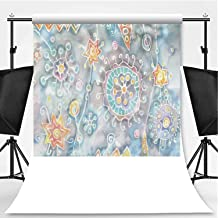 Batik Decor Photography Background,Free Batik Flower and Star Motifs with Motley Blots and Murky Splashes Fantasy Image for Television,Pictorial Cloth:5x7ft