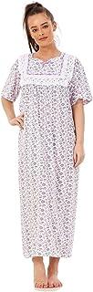 Apparel Women Nightwear Floral Print 100% Cotton Short Sleeve Long Nightdress M to XXXL