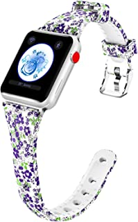 Aomoband Compatible with Apple Watch Band 38mm/40mm 42mm/44mm, Floral Silicone Replacement Slim iWatch Bands Compatible with Apple Watch Series 4/3/2/1,Sport&Edition