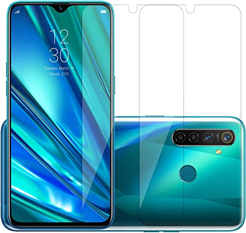POPIO Full Screen Coverage Except Edges Tempered Glass Protector For Realme 5 Pro Transparent Pack Of 2