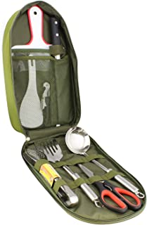 Redneck Convent Camping Utensils Outdoor Cooking Camping Accessories 8-Piece Kitchen Travel Cookware Set in Compact Portab...
