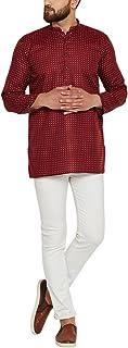 Sojanya (Since 1958) Men's Dark Red Cotton Linen PRINTED Short Kurta
