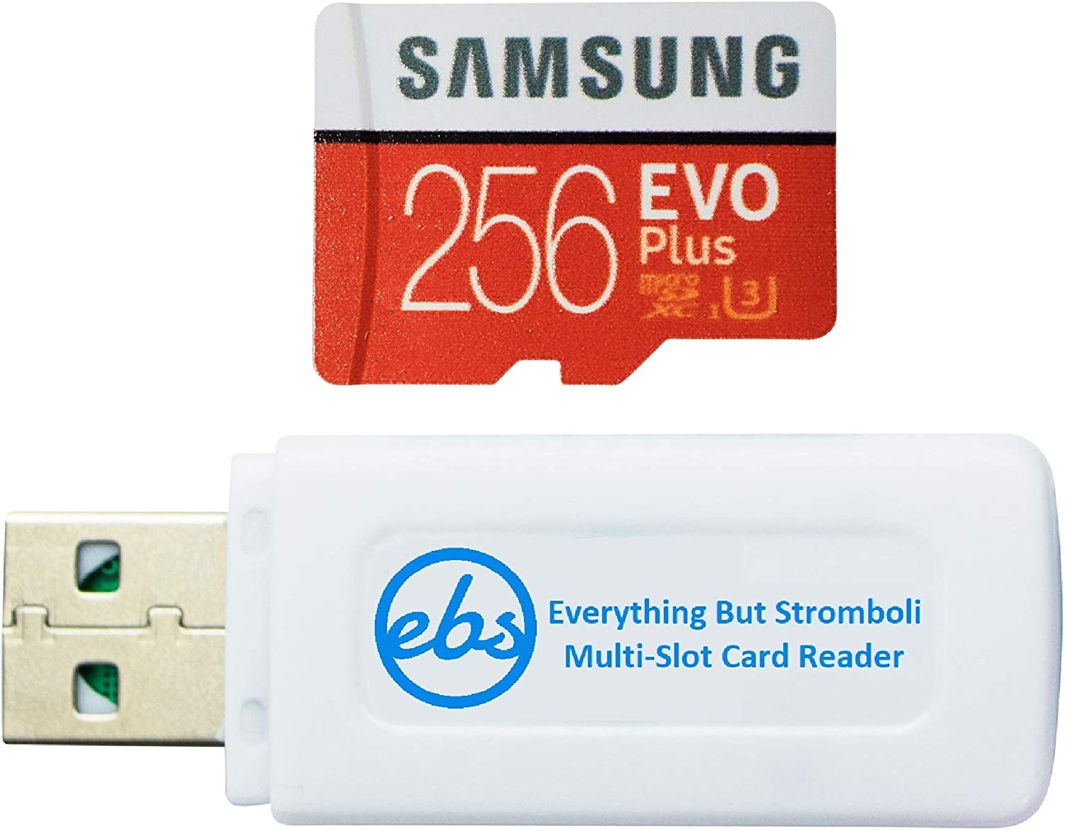 Samsung 256GB Micro SDXC EVO Plus Memory Card with Adapter Works with Samsung Galaxy S7, Tab S7+ Tablet, A21s Smartphone (MB-MC256HA) Bundle with (1) Everything But Stromboli SD, TF Card Reader