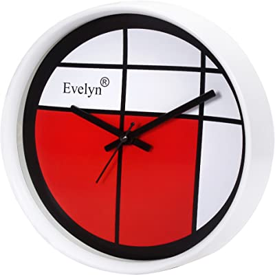 Evelyn Round Wall Clock with Glass for Home/Bedroom/Living Room/Kitchen Evc-81 (W)