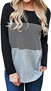 T Shirts for Womens, FORUU Fashion Long Sleeve Striped Patchwork Pullover Blouse