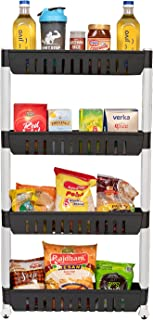TRENDY 4 Layer Multipurpose Kitchen Storage Slim Rack with Wheels for Home, Office, Bedroom, Bathroom (White)