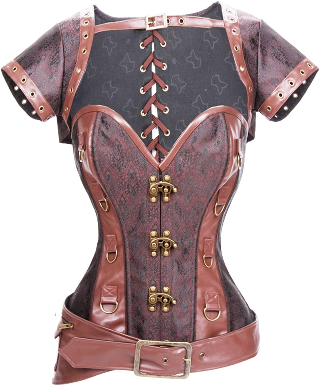 Angus Women's Rock Steampunk Corset, Jacket, and Belt