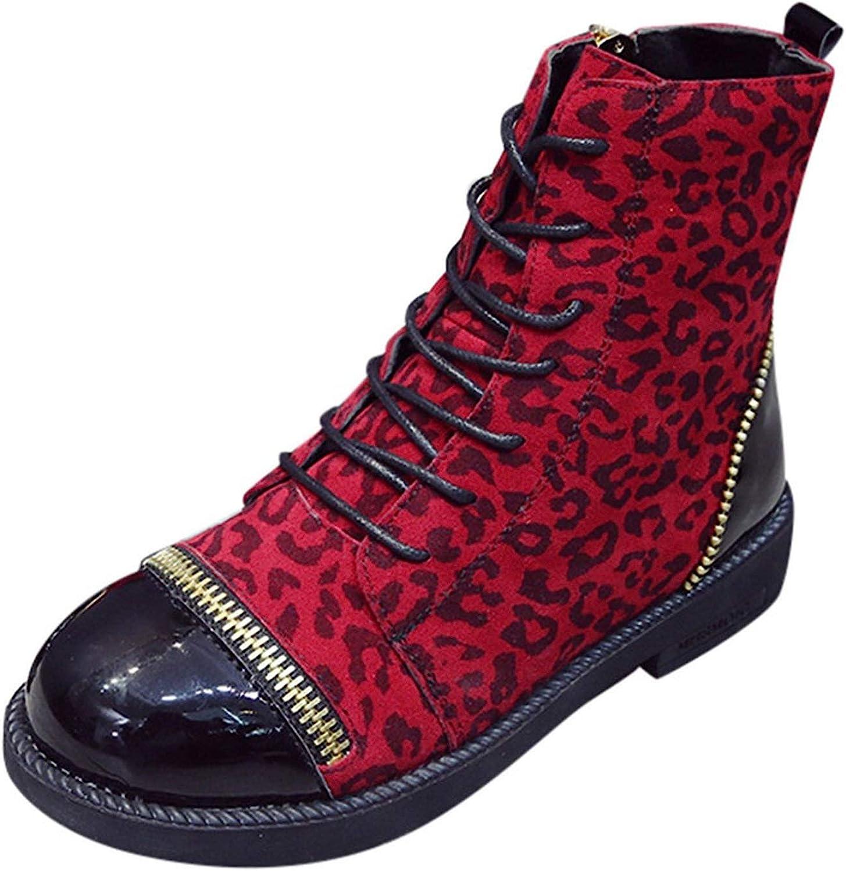 colorful-space Women Leopard Zip Thick Winter Boots Women 2019 Winter shoes Women Plush Round Toe shoes Boots
