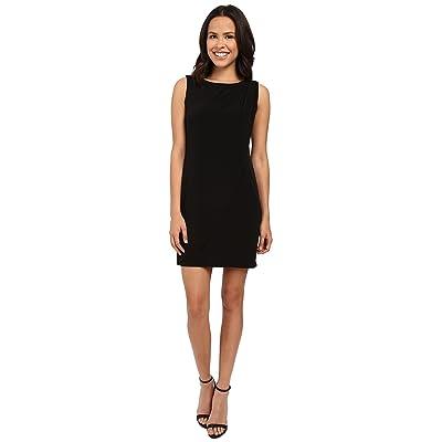 Jessica Simpson Sleeveless Ity Dress with Front Drape (Black) Women