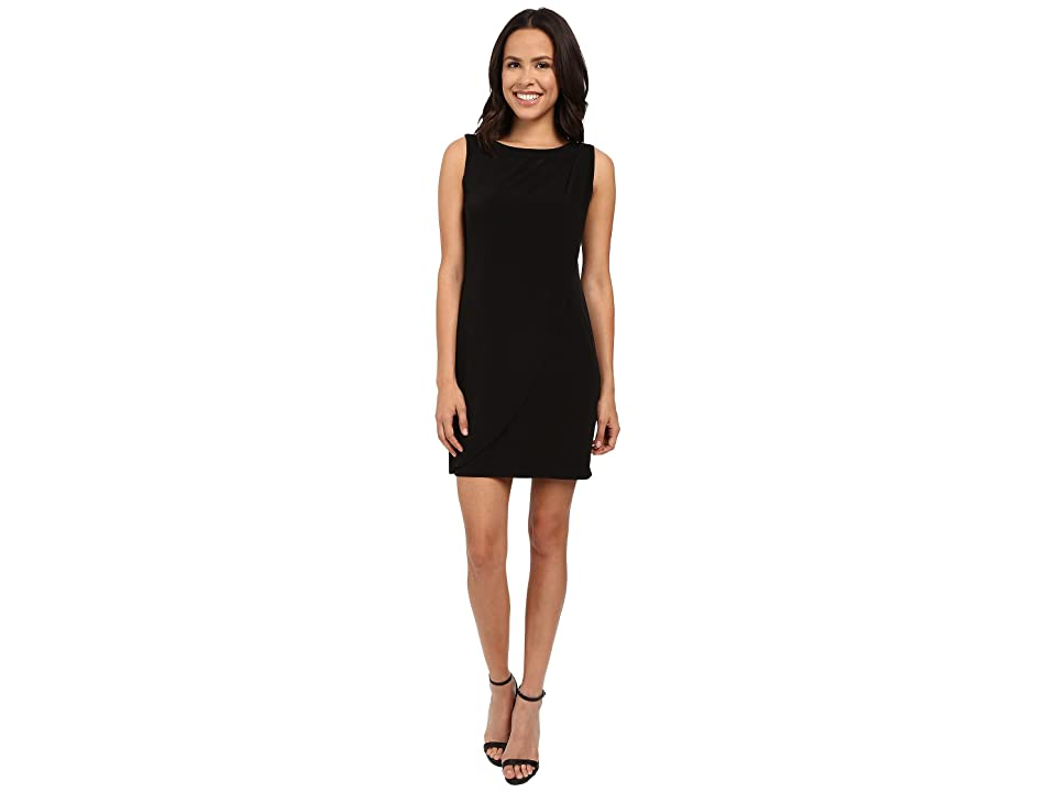Jessica Simpson Sleeveless Ity Dress with Front Drape (Black) Women