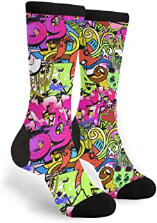 Packsjap Graffiti Art Hip-hop Style Texture Pattern Men & Women Casual Cool Cute Crazy Funny Athletic Sport Colorful Fancy Novelty Graphic Crew Tube Socks