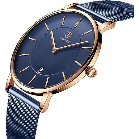 腕時計、メンズ腕時計 極薄型 シンプル カジュアル ファッション ユニセックス アナログ クォーツ 日付表示 防水腕時計 メッシュバンド ブルー
