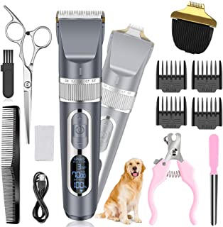 Dog Clippers 2 in 1, Cordless Pet Clippers with Small Trimmer Blade, Eocean 13 Pcs Pet Dog Grooming Kits with Detachable B...