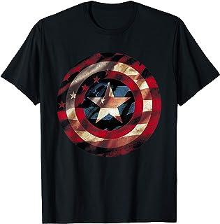 Best Marvel Captain America Avengers Shield Flag Graphic T-Shirt T-Shirt Review
