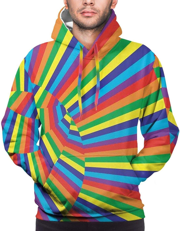 Men's Hoodies Sweatshirts,Rainbow Colored Lines Geometrical Mexican Blanket Pattern Latin American Culture
