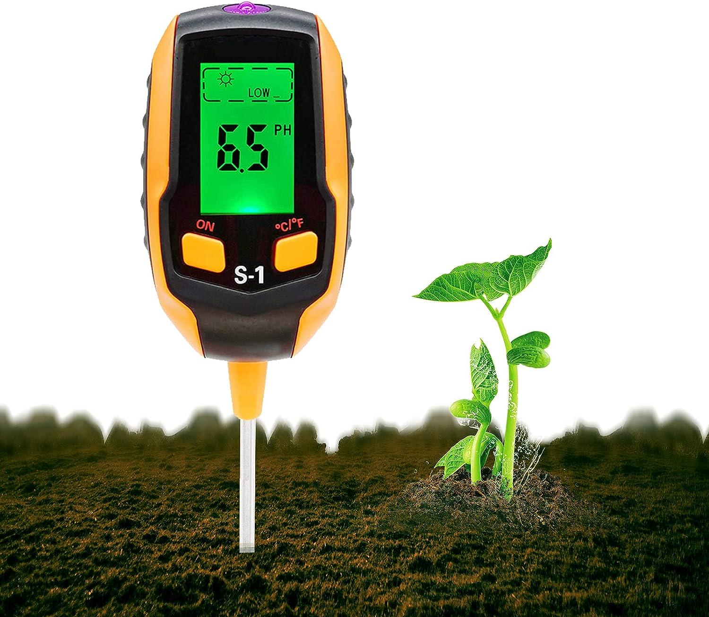 Cyann [2021 Upgraded] Soil PH Meter, 4-in-1 Soil Tester Moisture, Digital Plant Thermometer Test, Moisture Meter Light and PH Tester for Potted Plants, Gardens, Lawns