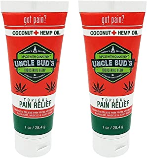 Hemp Cream 2 Pack Uncle Bud's Topical Pain Reliever Hemp Oil for Pain Reduction, Stress Support, Achy Muscle Relief, Fast ...