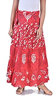 Rangun Presents Jaipuri Printed Cotton Full Length Skirt (Free Size) Red