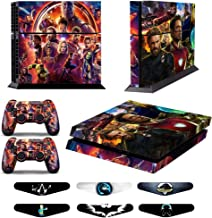 Skins for PS4 Controller - Decals for Playstation 4 Games - Stickers Cover for PS4 Console Sony Playstation Four Accessories PS4 Faceplate with Dualshock 5 Two Controllers Skin - Ironman