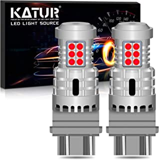 KATUR 3157 3057 T25 P27/7W LED Bulbs Super Bright 12pcs 3030 & 8pcs 3020 Chips Canbus Error Free Replace for Turn Signal Reverse Brake Tail Stop Parking RV Lights,Brilliant Red(Pack of 2)