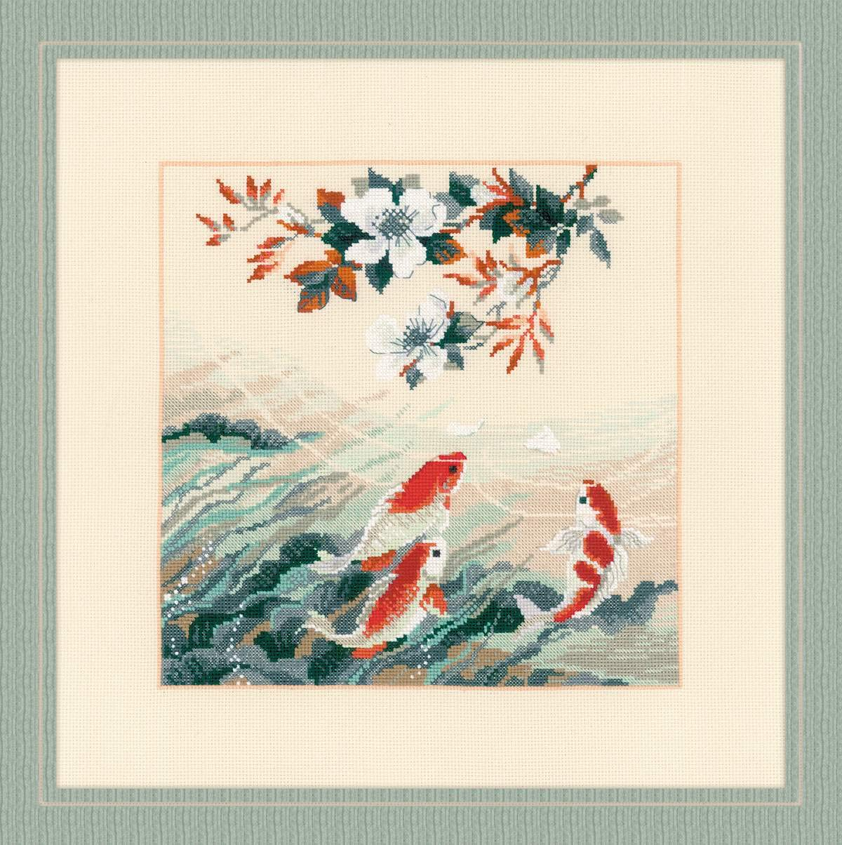 LoveinDIY Stamped Cross Stitch Kit Tropical Fish Pattern Embroidery Craft 48 x 22cm 14CT