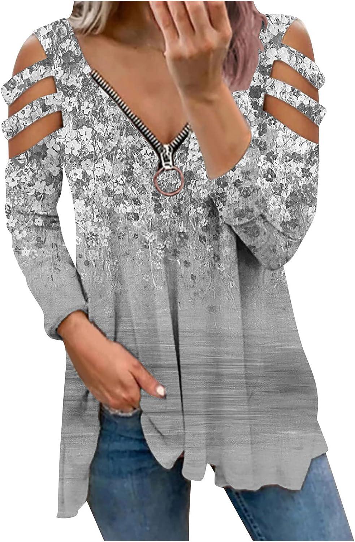 Women V Neck Fall Tops, Vintage Elegant Quarter Zip Up Cutout Cold Shoulder Floral Peplum Babydoll Blouse Tees Pullover