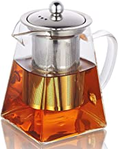 Glass Teapot with Infuser, 950ml/32oz Clear High Borosilicate Glass Tea Pot with Removable Tea Strainers for Loose Leaf Tea, Heat Resistant Loose Leaf Teapot, Safe on Microwavable and Stovetop