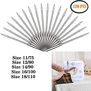 120 Count Sewing Machine Needles Heavy Duty Universal Sewing Tool Accessory for Home Size 75/11, 80/12, 90/14, 100/16, 110/18