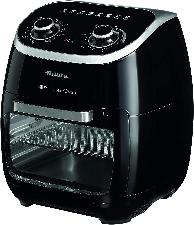 Ariete 4619 Freidora de aire y horno en uno, 11 L, multifunción, temporizador 60 minutos, puerta transparente extraíble, temperatura 80 - 200º C, 2000 W, negro