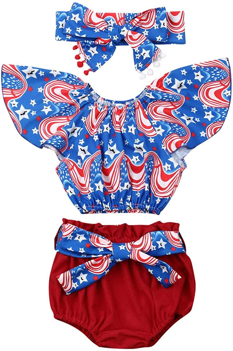 Inants Baby Girls 4th of July Independence Day Ruffle Sleeve Top Shorts Print Outfits Set