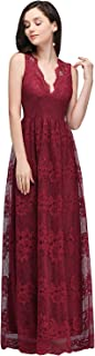 Women's Deep V Neck Prom Dresses Full Lace Evening Bridesmaid Gowns