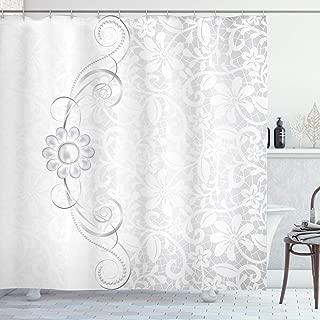 Ambesonne Grey Shower Curtain, Lace Inspired Flourish Motifs Background with Bridal Flower Border Wedding Pattern, Cloth Fabric Bathroom Decor Set with Hooks, 70