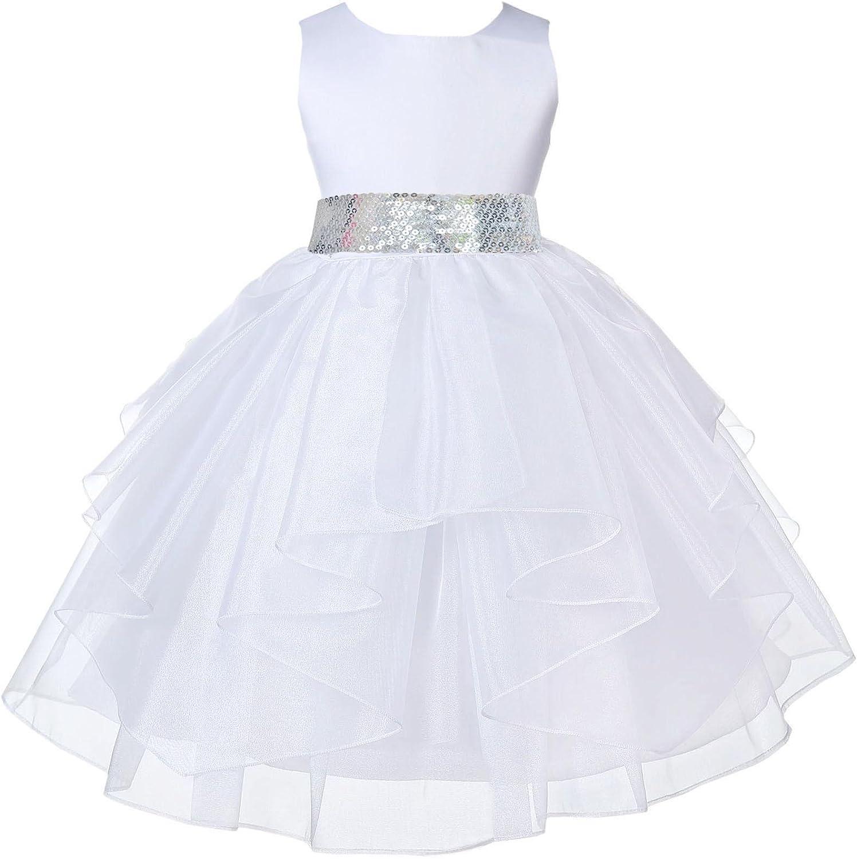 ekidsbridal White Shimmering Organza Sequin Sash Flower Girl Dress 4613mh